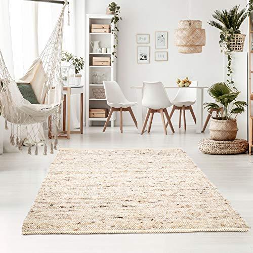 Taracarpet Handweb-Teppich Oslo Wolle im Skandinavischem Landhaus Design Wohnzimmer Esszimmer Schlafzimmer Flur Läufer beidseitig verwendbar 060x090 cm Sand Multi
