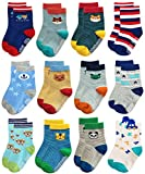 RATIVE RB-71317 Non Skid Anti Slip Slipper Cotton Striped Crew Dress Socks with Grips for Baby Toddler Boys (1-3T, RB-71317)