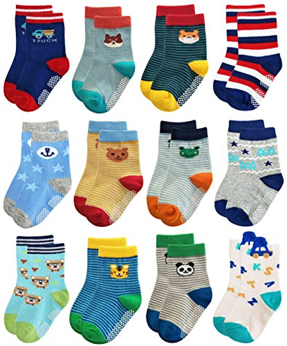 RATIVE RB-71317 Non Skid Anti Slip Slipper Cotton Striped Crew Dress Socks with Grips for Baby Toddler Boys (18-36 Months, RB-71317)