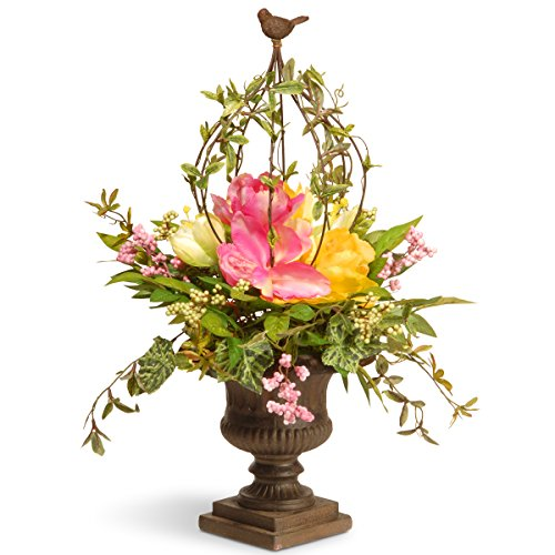 National Tree 25 Inch Spring Floral Topiary with Bird Finial and Decorative Urn Base (RAS-L030138A)