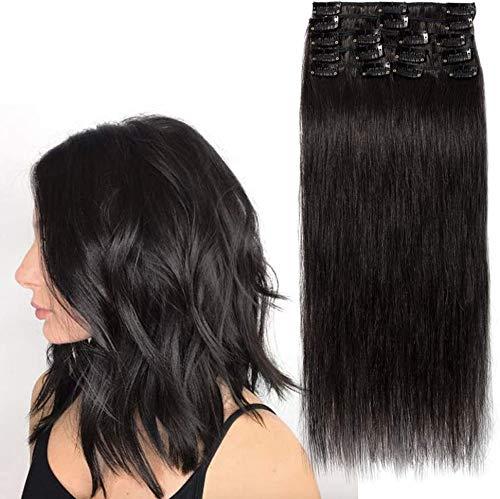 Extension a Clip Cheveux Naturel - Rajout Cheveux Humain 8 Bandes - #1B Noir Naturel - 20 cm (45 g)