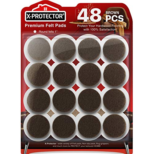 Felt Furniture Pads X-PROTECTOR-48 Premium Felt Pads Floor Protector Grey-Chair Felts Pads for Furniture Feet Wood Floors - Best Furniture Pads for Hardwood Floors - Protect Your Wood Floors! (Brown)