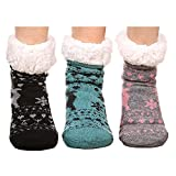 FRALOSHA Women's Slipper Socks Warm Fuzzy Fleece-lined Indoor Anti-Skid Floor Socks 3 Pairs Christmas Sock