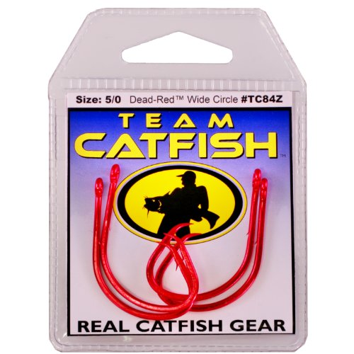 Team Catfish TC84Z8/0 Double Action Dead Finish Hook, Red