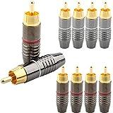 VISSQH 10pcs RCA Connettore, Maschio RCA Spina,placcati oro,RCA saldare Connettore per cavi audio e video fai da te, amplificatore, mixer, microfono(rosso/nero)