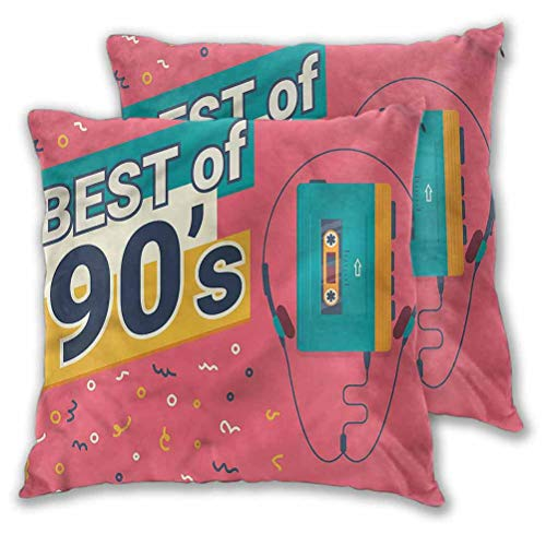 """Youdeem-home 90s Pillow Covers Best of 90s Cassette Player Modern Decorative Pillow Case 14"""" x 14"""" Set of 2 (Insert Not Included)"""