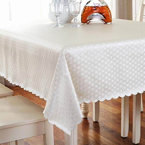 Yinaa Mantel de Tela Antimanchas Arte Hogar PU Impermeable Disponible en Varias Medidas Blanco 100×100cm