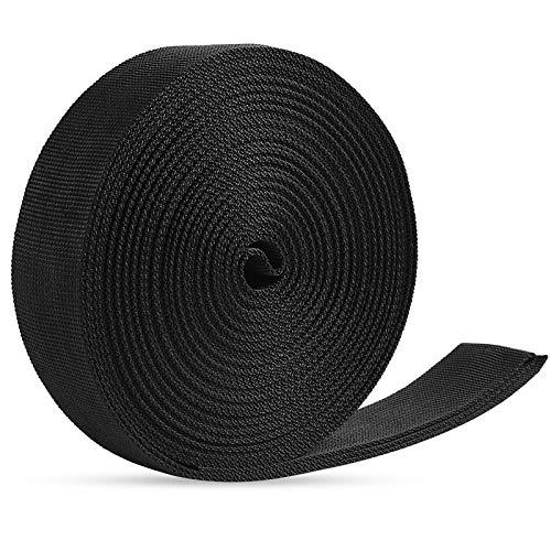 Jalan Correa de cincha Nylon 38 mm x 10 m, para Bricolaje, flejes de Mochilas, arneses y Collares de Perro - Negro