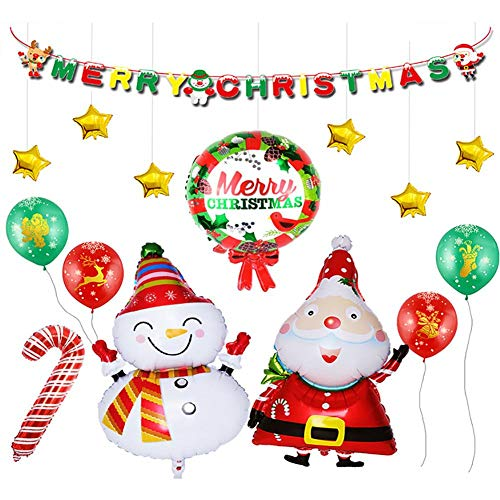 Decoración Navideña Globos aluminio globo Juego con bandera de Papá Noel para Navidad Fiesta Decoración, Mall Hotel Party, Noche Fiesta Decoración