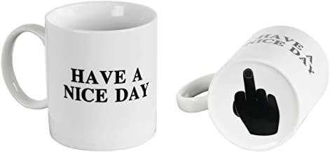 ARAD Have a Nice Day Coffee Mug, Fun Middle Finger at the Bottom, WHITE, Home and Office- Funny Christmas Gifts, Cool Ceramic Cup, Secret Santa Gift, Best Father's Day and Mother's Day Gag Gifts, 10 O