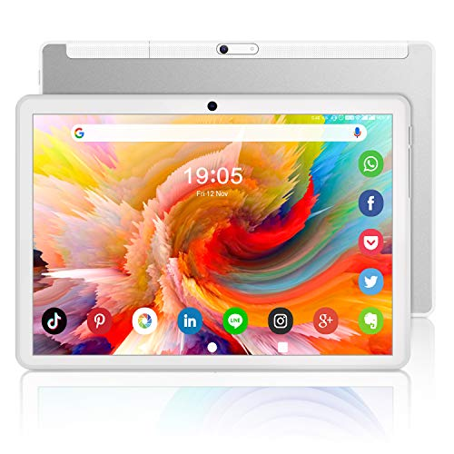 Octa-Core Tablet 10 Inch, Android 10.0, 32GB/128GB Expand, 1200x1920 IPS HD G+G Display, 18MP Metal Body Gaming Tablet, Dual Camera, WiFi/Bluetooth/GPS/OTG/Google Unlock Tablet [2021 Latest Silver]