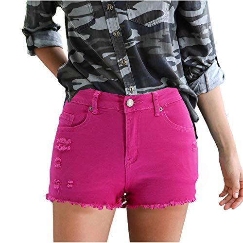 Pantalones Cortos de Mezclilla para Mujer Tendencia a la Moda Ropa de Calle Relajada Rasgada Pantalones Cortos de Talla Grande con Dobladillo Crudo Lavado Verano S
