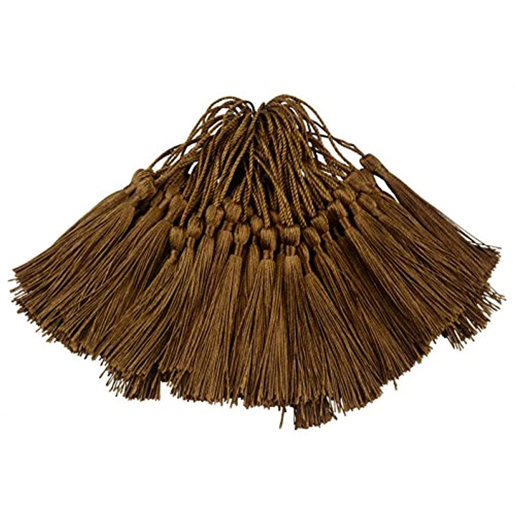 100pcs 13cm/5 Inch Silky Floss Bookmark Tassels with 2-Inch Cord Loop and Small Chinese Knot for Jewelry Making, Souvenir, Bookmarks, DIY Craft Accessory (Coffee)