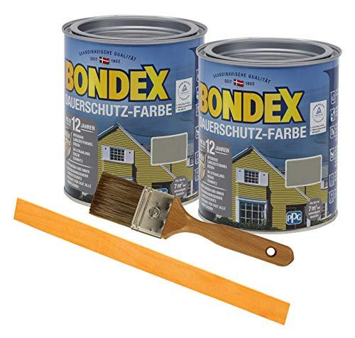 Bondex Dauerschutzfarbe deckend 2 x 0,75l Wetterschutzfarbe Holzschutzfarbe Holzfarbe bis zu 12 Jahre wetterbeständig für Holz und Zink Außen inkl. Pinsel und Rührstab (terra)