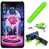 Hybrid Rugged Hard Cover Case Compatible with Galaxy [A30] [A20] - Beauty and The Beast Rose Drawing (with Free Phone Stand Gift!)