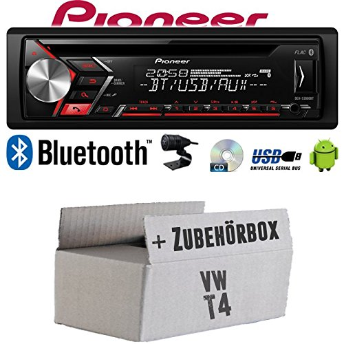 Autoradio Radio Pioneer DEH-S310BT - Bluetooth | CD | MP3 | USB | Android Einbauzubehör - Einbauset für VW Bus T4 - JUST SOUND best choice for caraudio