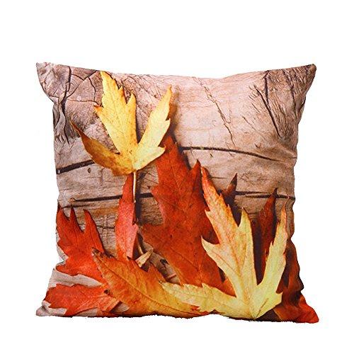 iLove EU, federa per cuscino decorativo, quadrata, 45 x 45 cm, 3D, autunno, rosso, foglia d'acero
