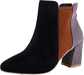 UOKNICE Women Pointed Toe Suede High Heel Shoes Mixed Color Martin Boots Zipper Boot