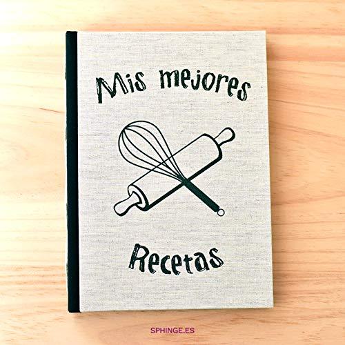 Sphinge - Libro de recetas de cocina personalizado | Para escribir tus recetas favoritas A5 | Tapa dura y costura vista | Índice y páginas en español | Encuadernación artesanal hecha a mano