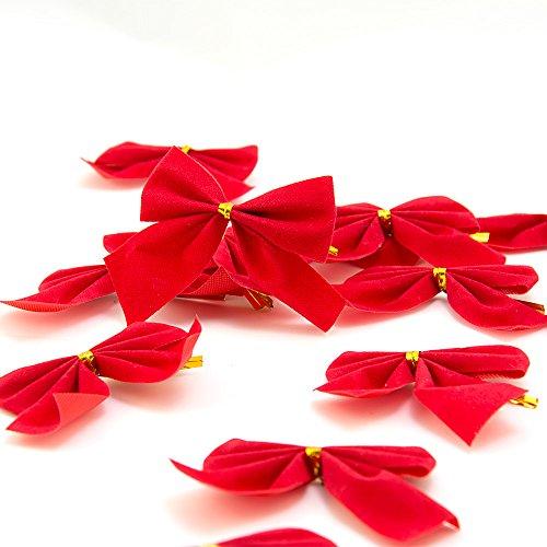 4yourpet 12er Set rote Weihnachtsschleifen zum dekorieren von Weihnachtskranz oder Weihnachtsbaum, Deko Schleifen