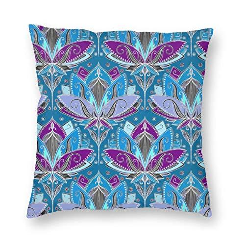 Meius Art Deco Lotus Rising en verde azulado, azul y ciruela profunda, de terciopelo, suave, decorativo, cuadrado, funda de almohada para salón, sofá o dormitorio, con cremallera invisible de 20 x 20 pulgadas