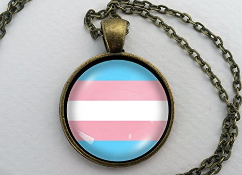 Transgender Pride Necklace, Glass Dome Pendant, LGBT Gift, Round Text Art Cabochon Charm Jewelry, Sexuality, LGBTQ, LGBTQIA, FtM, MtF