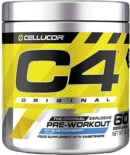 C4 Original | polvere pre allenamento Icy Blue Razz | Integratore per uomini e donne | 150 mg caffeina + Beta-Alanina + Creatina monoidrata | 60 porzioni