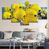 Canvas HD Impreso Modular Ocean Poster para sala de estar Marco de pintura decorativa 5 paneles Animal Yellow Fish Wall Art Picture
