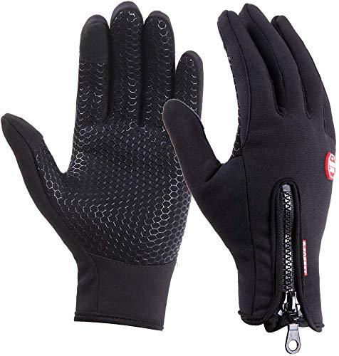DUSISHIDAN Fahrradhandschuhe Touchscreen Handschuhe Winddicht Wasserdicht für Winter Radfahren und Outdoor Sports Herren und Damen Schwarze...