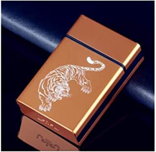 JFYHZ Cigarette Box, Thick Sliding Push Cover Aluminum Alloy Personality Gift Creative Portable Cigarette Case, Stylish and Beautiful Color (can Hold 20 Cigarettes)