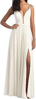 Jonlyc Women's Spaghetti Straps Prom Bridesmaid Dresses Chiffon Long Beach Wedding Evening Gown