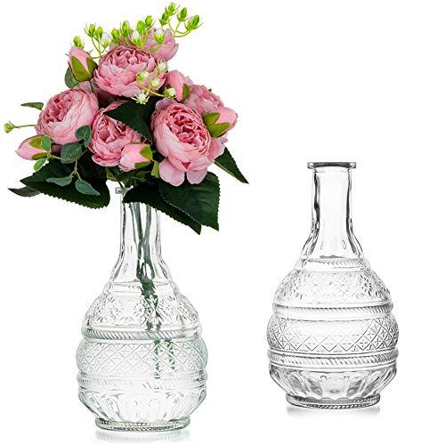 Sziqiqi 2 Piezas de Jarrón de Vidrio para Flores 22cm Transparente Elegante en Relieve Flores de Vidrio en Relieve Jarrón Botella para Mesa Centro de Mesa Decoración Sala de Estar Hogar Boda Evento