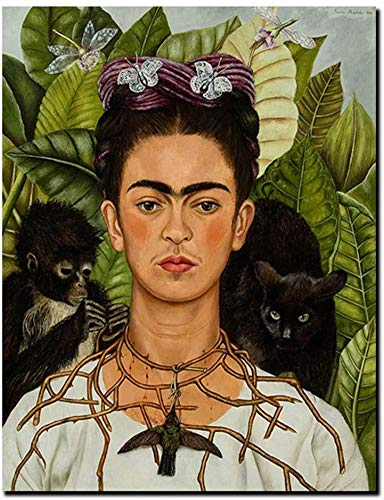 Frida Kahlo Autorretrato Con Pintura Al Óleo Del Mono Y El