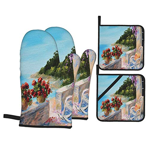 Oven Mitts and Pot Holders Sets of 4,Sea View Balcony With Cosy Rocking Chair Flowers In Summer Sky Oil Painting,Polyester BBQ Gloves with Quilted Liner Resistant Hot Pads for Kitchen Cooking Baking