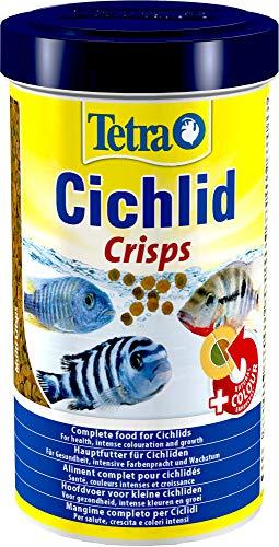 Tetra Cichlid Crisps (für Cichliden mit natürlichen Farbverstärkern, minimale Wasserbelastung, geeignet für Futterautomaten), 500 ml Dose
