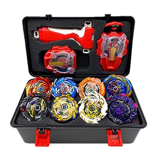 8 Pcs Peonzas Juguetes Conjunto, Gyro Spinner con 2 Burst Turbo Launcher Set, con Estuche Portátil, Cumpleaños, Navidad Regalo, Regalo De Año Nuevo para Los Niños