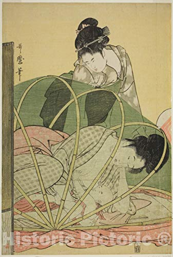 Historic Pictoric Print : Mosquito Net for a Baby, Kitagawa Utamaro, c 1795, Vintage Wall Decor : 08in x 12in