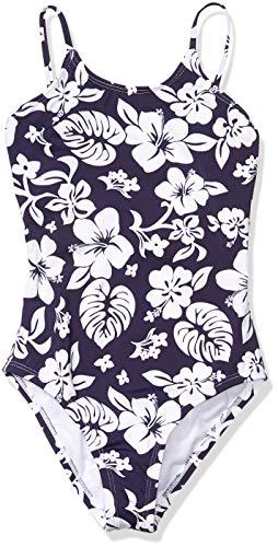 Hobie Girls' Big One Piece Swimsuit, Navy//Aloha, 10