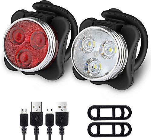 Wiederaufladbare LED-Fahrradlichter mit USB-Anschluss (2 Pack), Fahrradlicht vorne und hinten, super hell, LED-Licht, Frontlicht und Rücklicht für Fahrrad Mountainbike