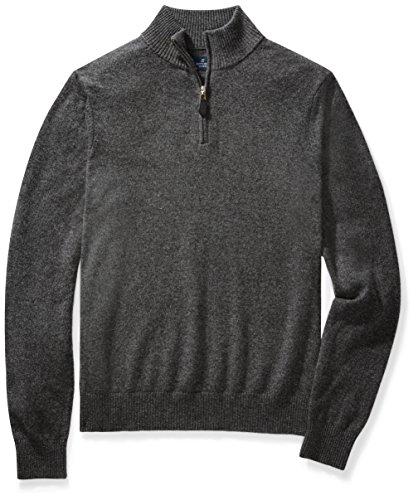 BUTTONED DOWN Men's Cashmere Quarter-Zip Sweater, Dark Grey, Small