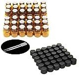 Yizhao, 36pz -1ml/2ML Amber riduttori campione/flaconcini bottiglie di vetro con foro e tappo nero per oli essenziali, Chemistry Lab, profumi, reattivo e plastica 2pipette contagocce