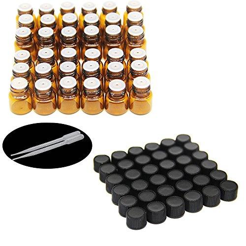 Yizhao Ambar Botellas de Aceite esencial de Vidrio Vacías 1ml/2ml,con Reductor de Orificio y Tapa,Para Aceites Esenciales, E-Líquidos,Aromaterapia,Perfumes,Masajes,Laboratorio de Química–36Pcs