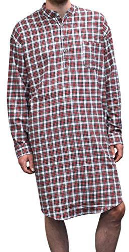 Lee Valley Men's Genuine Irish Cotton Flannel Nightshirt(Large, LV4 Red/White Check)