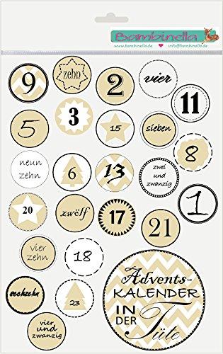Bambinella® Klebesticker Adventskalender in der Tüte