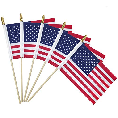 YADOO 50 Packs of Small American Flags on Stick 4x6 Inch/Mini American Flags Stick/Small US Flag/Hand Held Flags for Memorial Day & 4th of July Decorations, Solid Wooden Pole Safety Spear Tip