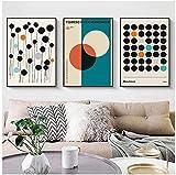 Lienzo Arte de la Pared 3 Piezas 50x70cm Sin Marco Línea de Bloques de Colores geométricos Arte Abstracto Minimalista Moderno Sala de Estar Oficina Porche Colgante Se Puede Personalizar