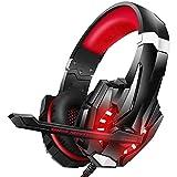RHL Auriculares de juego para PS4 PC Xbox One Controlador Cancelación de ruido sobre los auriculares con micrófono Luz LED Bass Surround Soft Memory Orejeras para portátil (color B: B)