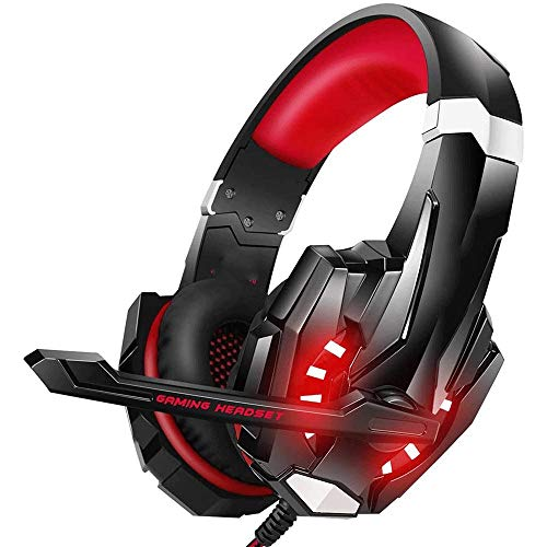 Gaming Headset for PS4 PC Xbox One Controller Noise Cancelling Over Ear Headphones with Mic LED Light Bass Surround Soft Memory Earmuffs for Laptop (Color : B)