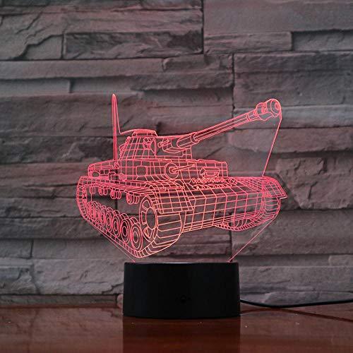3D Luz nocturna para niños luz de noche de inteligente Aniversario del tanque para hombres, mujeres, niños, niñas, regalo Con interfaz USB, cambio de color colorido