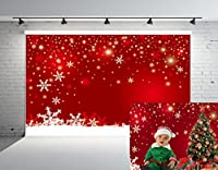 Kate 7x5ft (2.2mx1.5m) 新年 写真の背景 綿の布 クリスマス 写真撮影用背景 赤い壁 雪片 子供 新生幼児 撮影用 背景布 HJ02486